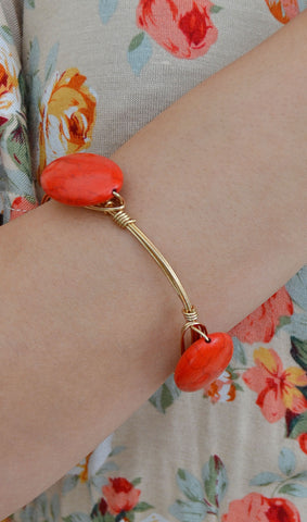 Women's Reddish Stone Wire-Wrapped Bangle Bracelet