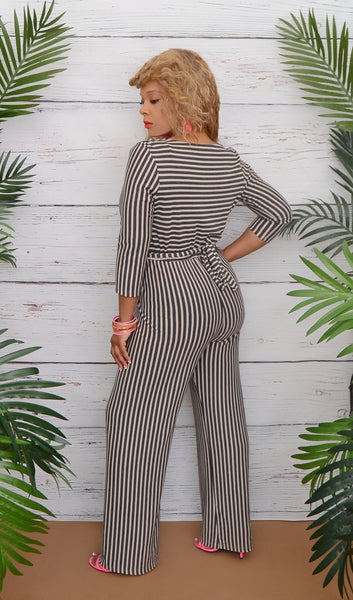 Women's Ivory/Black Wide Leg Stripe Jumpsuit