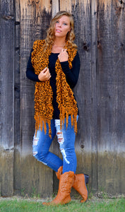 Women's Animal Leopard Cheetah Scarf with Fringe Details
