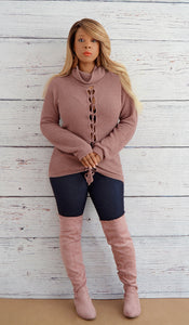 Juniors Cowl Neck Lace Up Knit Sweater- Mauve Pink- Boutique Sweaters