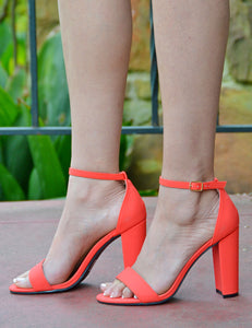 Women's Faux Suede Open Toe Block Heels -Coral - Shoe Boutique