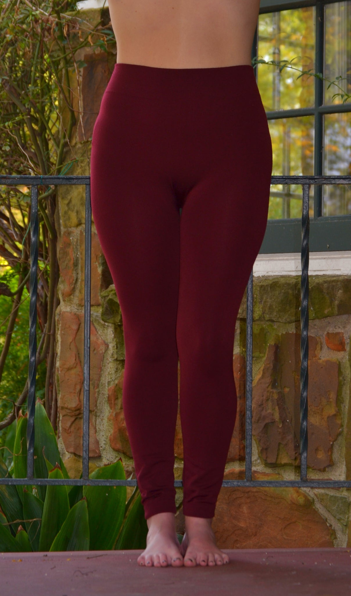 Junior/Women Cheap Quality Maroon Fleece Leggings