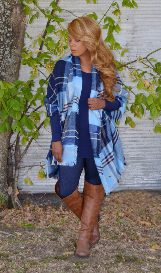 Perfect Blanket Scarf Of Fall-Blue