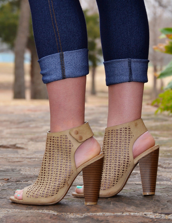 Peforated Of Mule Booties-Khaki