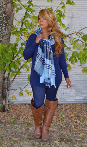 Perfect Shawl/Scarf Of Fall-Blue