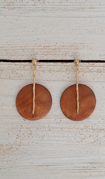 Women's Cognac/Gold Wooden Circle Earrings