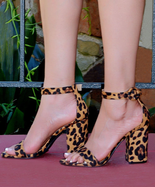 Women's Leopard Block High Heel Sandals