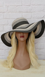 Women's Gray & Black Straw Floppy Hat - Affordable Boutique