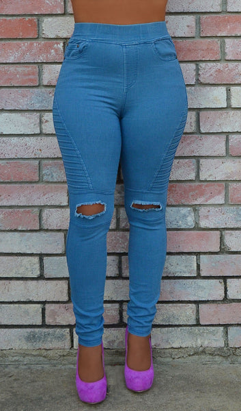Women's Skinny Denim Style Distressed/ Ripped Stretchy Moto Jeggings - Light Wash