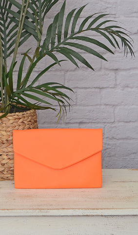 Women's Neon Orange Envelope Clutch