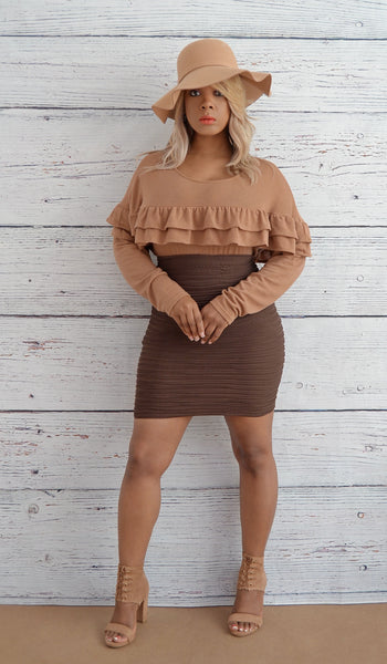Women's Bodycon/Fitted Scrunchy Ruched Mini Skirt-Brown