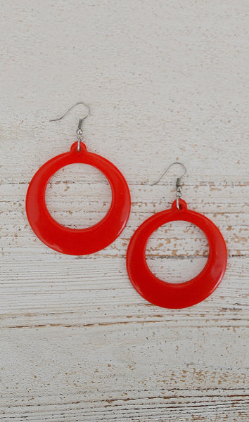 Women's Red Circle Hoop Earrings