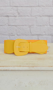 Women's Bright Yellow Elastic Fashion Belt