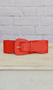 Women's Bright Red Elastic Fashion Belt