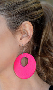 Women's Fashion Hot Pink Wooden Hoop Earrings-Cute Cheap Earrings