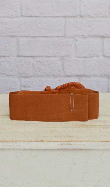 Women's Cognac Brown Elastic Fashion Belt