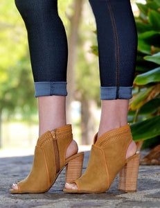 Women's Fashion Suede Peep Open Toe Booties-Camel