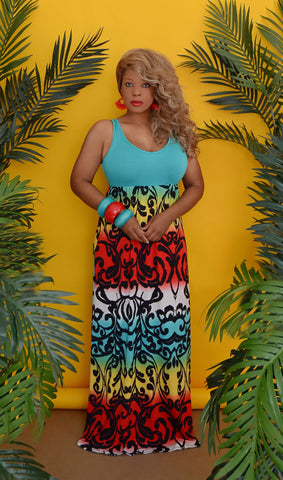 Women's Tropical Summer Maxi Dress -Aqua Blue Green/Multi-Color - Boutique Dresses