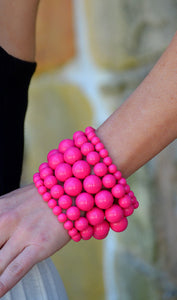 Hot Pink 6Piece Beaded Bracelet Set-Fuchsia- Cheap Junior Clothes