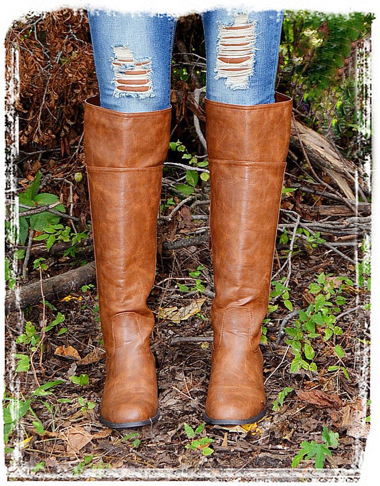 Rider Boots Of Fall-Cognac - Charlene's Style  - 1