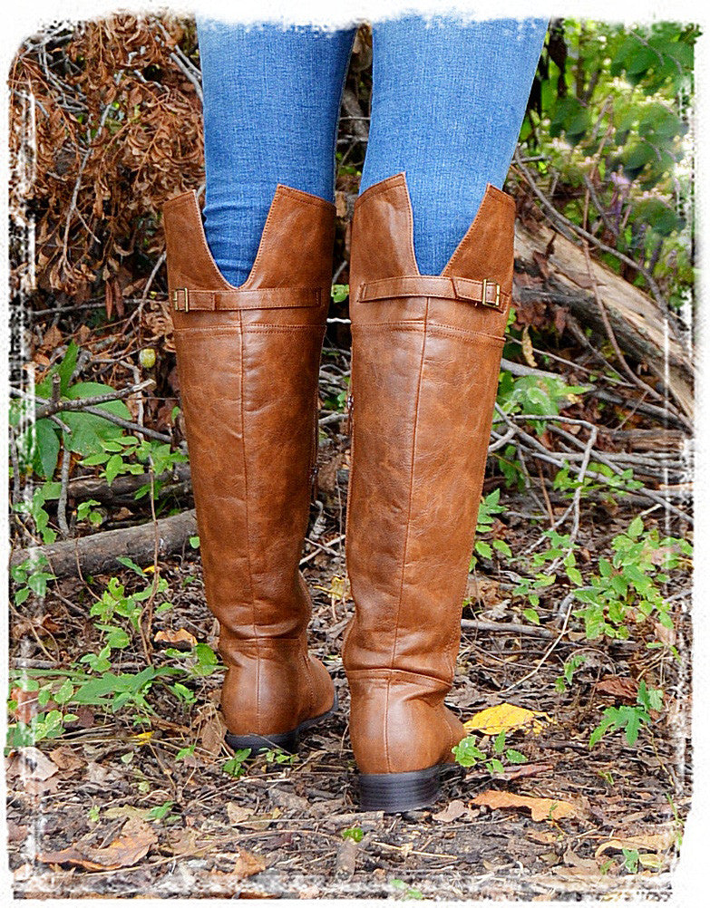 Rider Boots Of Fall-Cognac - Charlene's Style  - 2