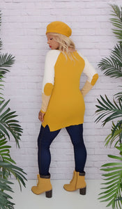 Women's Mustard Yellow Elbow Patch Sweater