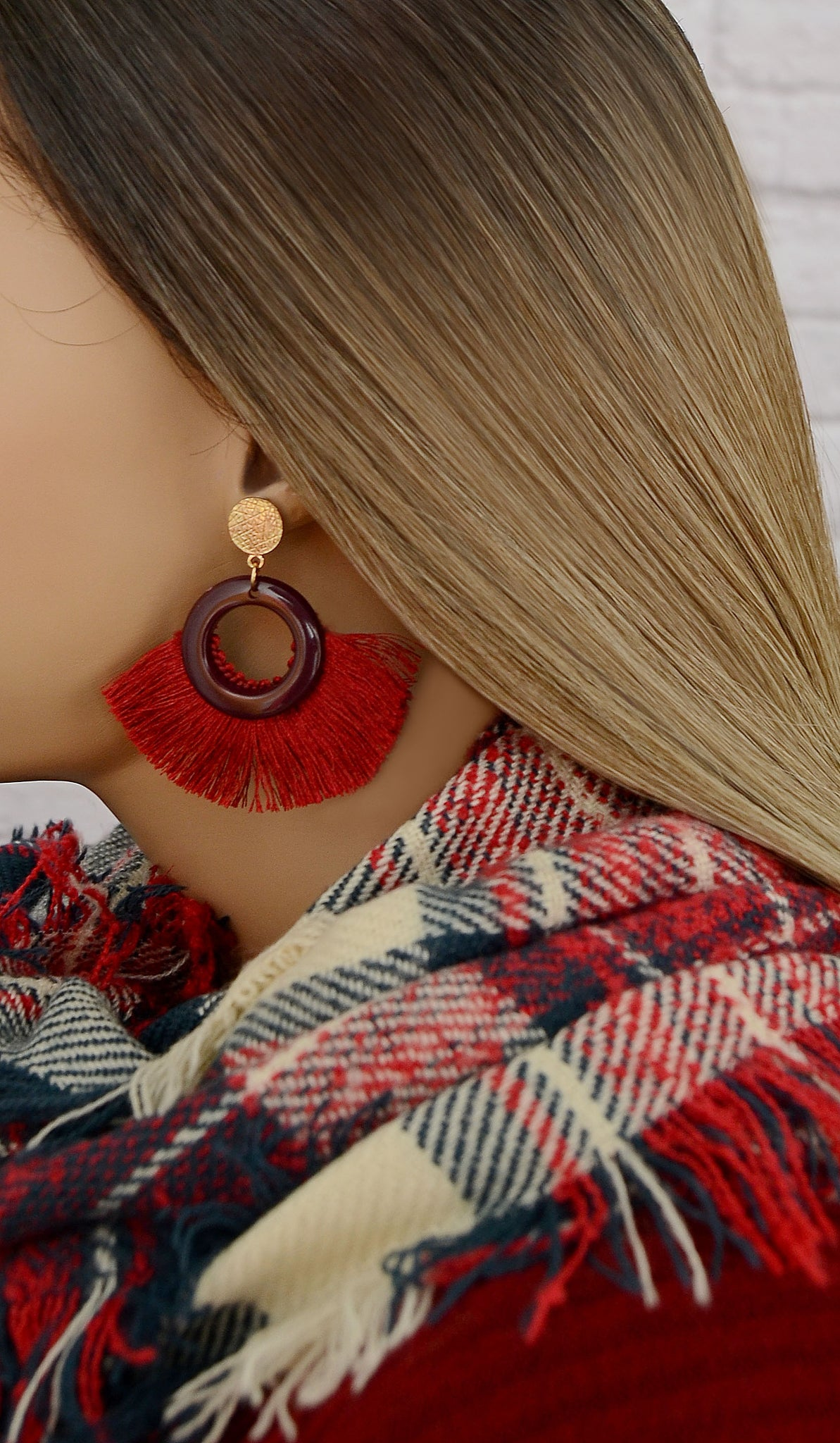 Women's Maroon/Burgundy Fashion Fringe Earrings