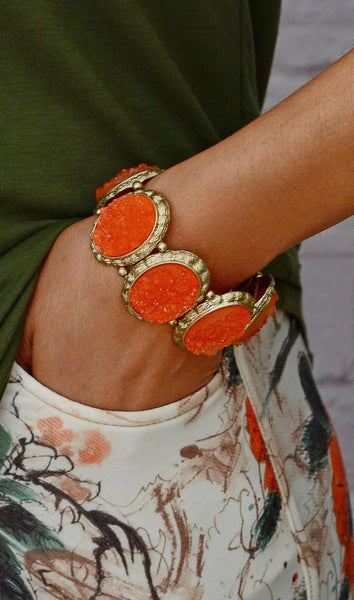 Women's Fashion Gemstones Stretchy Bracelet-Orange