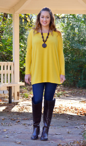 Women's Basic Scoop Neck Piko Yellow Tunic