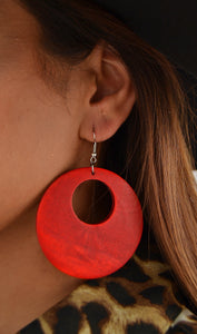 Red Fashion Wooden Circle Earrings