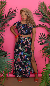Women's Black Tropical Of Floral Two Piece Set - Urban Boutique