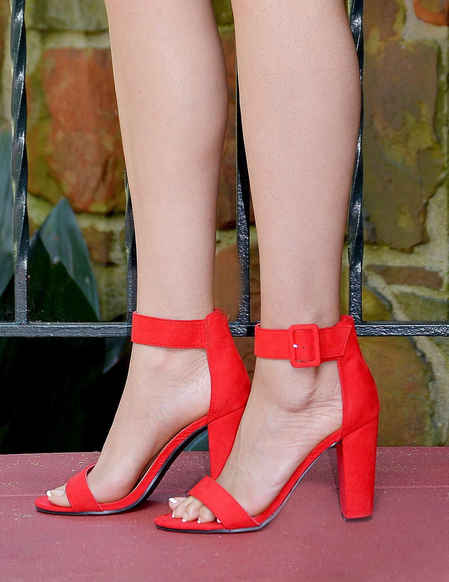 Women's Red Ankle Strap Open Toe Block Heels