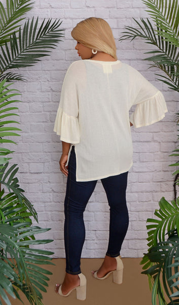 Bell Sleeves Of Style Knit Top-Ivory Beige