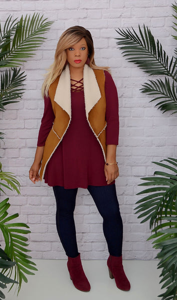 Women's Camel Faux Suede Vest With Pockets