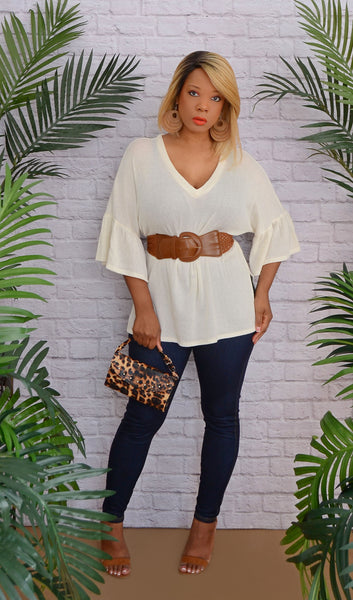 Women's 3/4 Bell Sleeves Knit Top-Ivory Beige