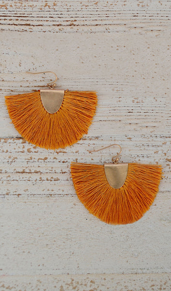 Mustard Yellow Fringe Tassel Fashion Earrings