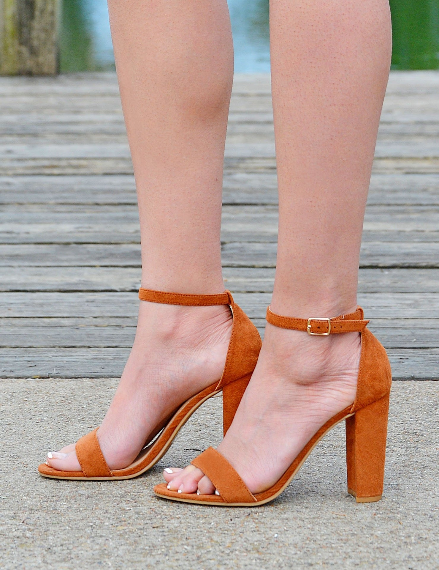 Women's Faux Suede Open Toe Block Heels -Brown