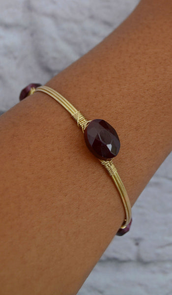 Women's Maroon Stone Wire-Wrapped Bracelet