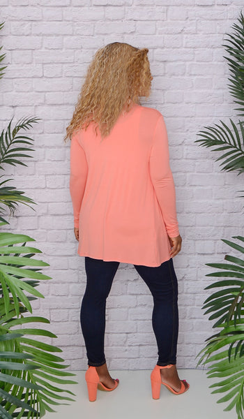 Women's Basic Coral Open Front Cardigan