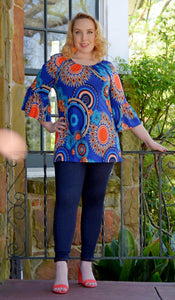 Women's Misses Size Multi-Color Medallion/ Geometric Blouse With Bell Sleeves-Blue