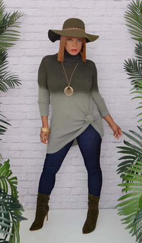Women's Ombre Olive Green Cowl Neck Sweater