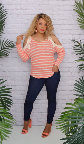 Women's Coral Striped Cold/ Open Shoulder Crochet Top