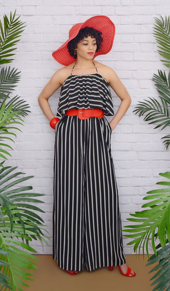 Sleeveless Black/White Striped Wide-Leg Jumpsuit