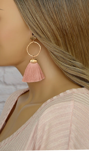 Women's Rose Gold Fringe Tassel Earrings