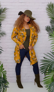 Women's Mustard Yellow Floral Cardigan