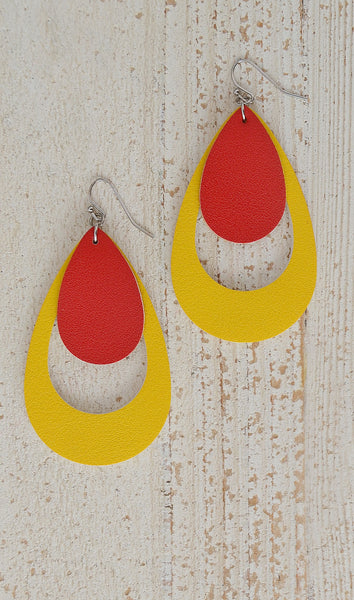 Women's Colorblock Double TearDrop Earrings-Red/Yellow