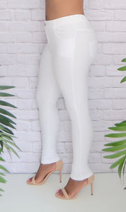 Women's White Basic 5 Pocket Stretch Skinny Jeggings
