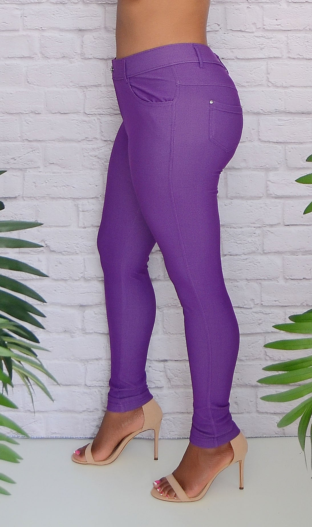 Women's Purple 5 Pocket Stretch Skinny Jeggings