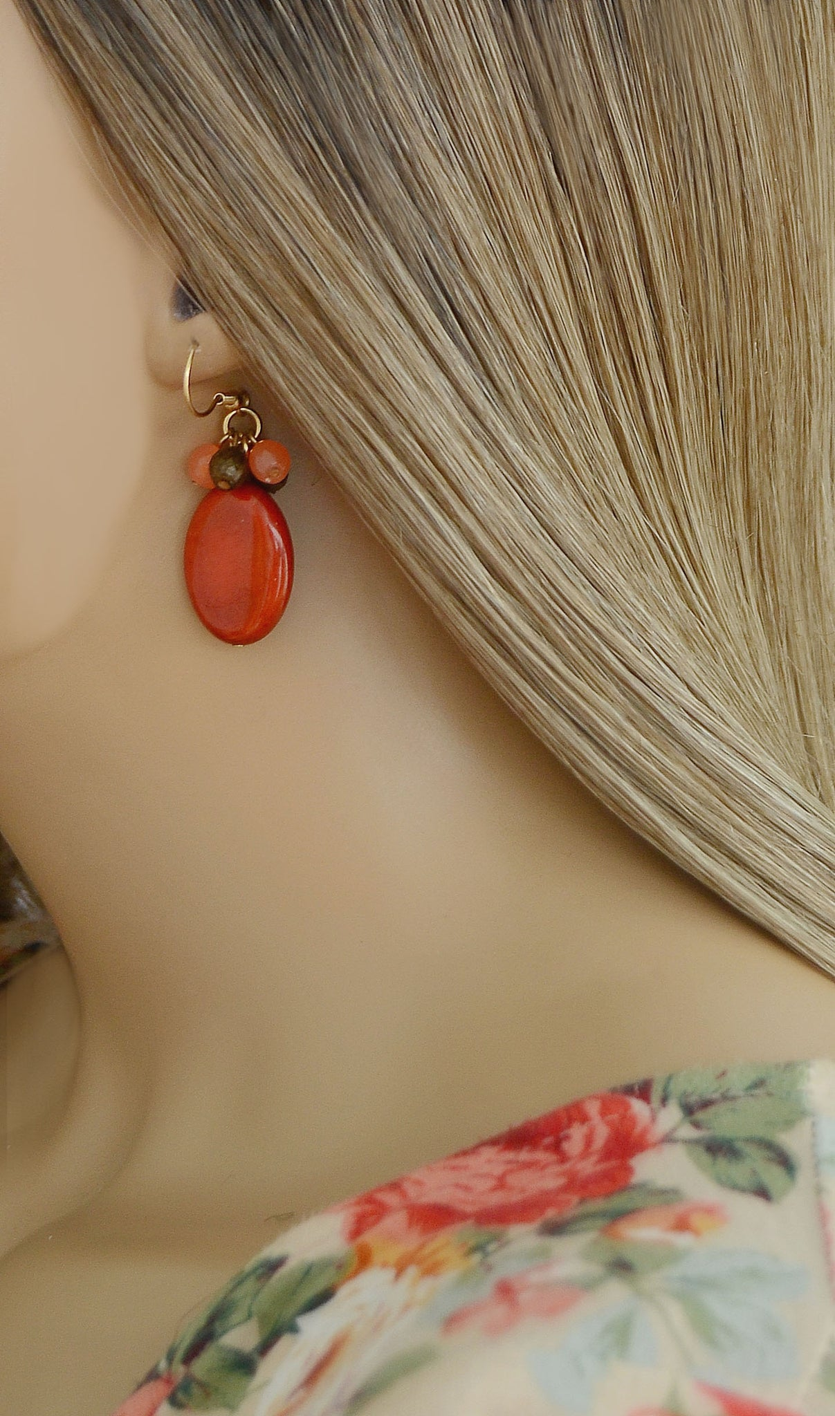 Women's Reddish/ Coral Stone Fashion Earrings