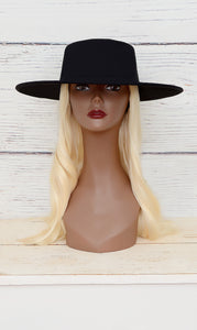 Women's Black Suede Fedora Hat- Big Brim
